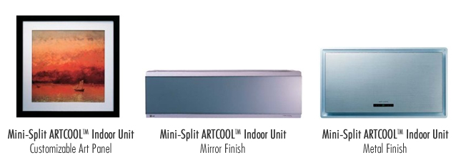 LG ArtCool Ductless mini split finishes