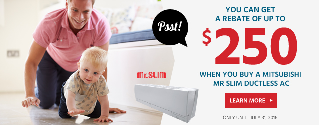 mitsubishi mr slim ductless air conditioner rebate ottawa